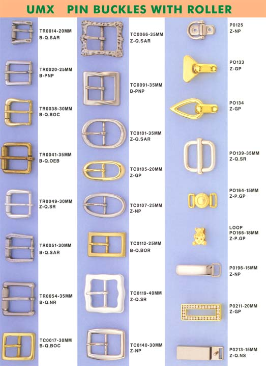 picture of pin buckles with roller and pin buckles with central bar