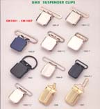 series 1: suspender clips, buckle clips, belt clips, footware clips, leather goods clips, adjstable clips