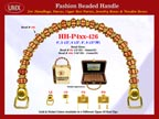 HH-Pxx-426 Beaded Handle with Carved Lantern Beads and Gold Spacer Beads For Wholesale Handbag Making Supplies