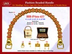 HH-Pxx-427 Beaded Handle with Clam Sea Shell Beads and Metal Gold Beads For Wholesale Handbag Making Supplies