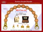HH-Pxx-430 Beaded Handle with Walnut Basket Beads and Metal Gold Beads For Wholesale Handbag Making Supplies