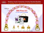 Pink Gemstone Beads, Pink Acrylic Beads For Women's Microfiber Handbag Handle: HH-Pxx-527