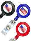 American Flag Retractable ID Holders with ID Holder Straps