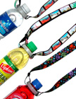 Adjustable Length Water Bottle Straps: Adjsutable Bottle Cap Sports Neck Lanyards For Carrying Bottled Water or Bottled Drink with Pre-Printed Paw Print and USA Landmark Themes.