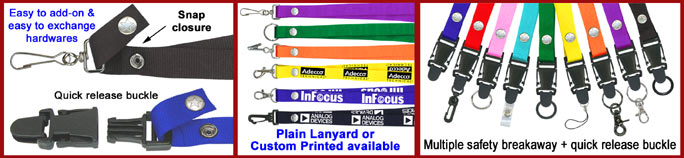 Snap Closure Lanyard Series With Hundred of Different Hardware Combination Available.