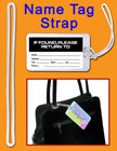 Plastic luggage tag loop or plastic name tag straps